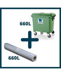 660L Affaldscontainer + 660L Transparente Containersække
