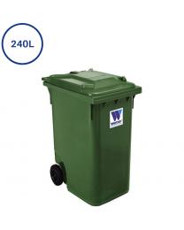 240L grøn affaldscontainer. 250mm hjul