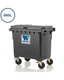 660L grå affaldscontainer med 4 hjul