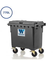 770L grå affaldscontainer. 200mm hjul