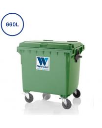 Grøn 660 L affaldscontainer med 4 hjul
