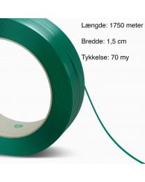 PET Grønt strapbånd 15mm x 1750m. 70my