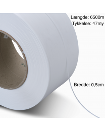 PP Hvidt Strapbånd 5mm x 6500m. 47my