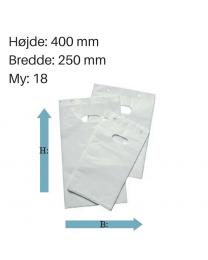 Hvide blokposer 250x400+ 30 mm. 18 my.