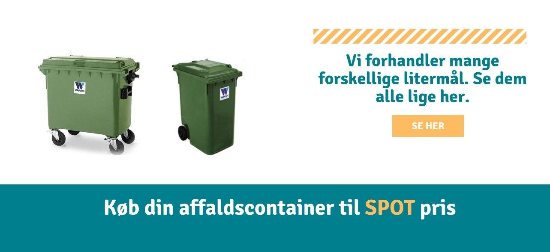 Affaldscontainer i litermålene 240, 660 og 1000. Affaldscontainere til dit skrald